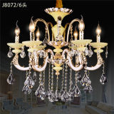 Crystal Chandelier with Zinc Alloy Arms Jade Candlestick