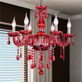 Red Decorative Modern European Crystal Candle Chandelier with 6 Lamp