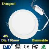Aluminum+PC Frosted 4W Dimmable LED Ceiling Panel Light