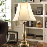 Antique Brass Table Lamps with Offwhtie Fabric Shade