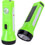 Solar LED Flashlight with Rechargeable Battery
