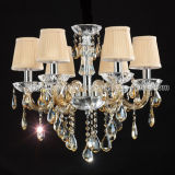 Tradiontional Beautiful Crystal Chandelier in Glass Structure with Gold Color