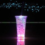 Wholesale Reusable Blink Glow Plastic Flashing Light up Beer LED Cup Mug Tumbler with Straw Glass for Bar Party Custom Colorful Promotion Shot