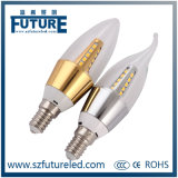 Future LED Candle Light SMD2835 3W Candle Bulb with Gold Aluminum Housing