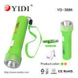 Portable LED Torch Rechargeable Plastic Mini Flashlight with Dry Battery