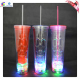 Customized Printed Plastic LED Cup with Straw