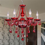 Decorative Red Crystal Contemporary Candle Chandelier