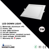 3W LED Square Down Light with External Driver