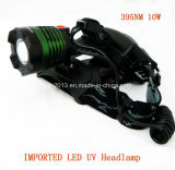 New 10W UV 395nm 18650 Rechargeable LED Headlamp