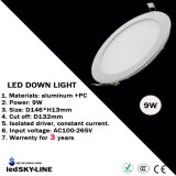 9W LED Round Down Light with External Driver AC85-265V