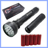 26650 Battery Operated Rechargeable CREE Xml T6 18 LED 22000lm High Power Black Aluminium Alloy Flashlight (FT003)
