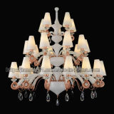 Luxury Hotel Crystal Chandelier Lighting with Glass Shades (S379-15+10+5)