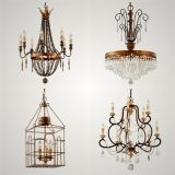 Forged Cast Iron Crystal Metal Chandelier Pendant Lamp